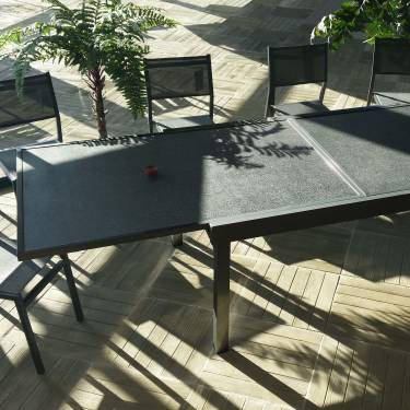 TABLE RECTANGULAIRE EXTENSIBLE 300 CM PIERRE PROJETEE